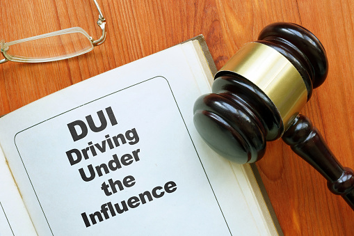 Conceptual hand written text showing DUI driving under the influence